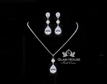 Bridesmaid Jewelry,Cubic zirconia earrings,Wedding Set,wedding earrings,wedding necklace,pendant necklace,gifts for women,jewelry set
