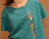 90s teal crop top SOUTHWEST VINTAGE Kachina short sleeve shirt