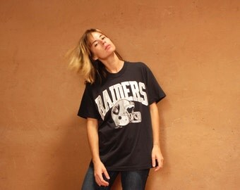 vintage 80s LA RAIDERS football pullover t-shirt JERSEY striped top