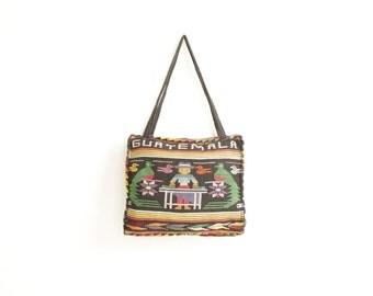 guatamalen SOUTHWEST ikat style BRIGHT purse extra large TOTE bag