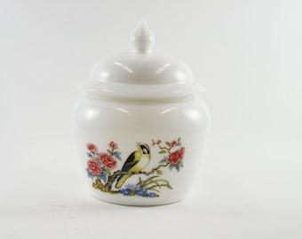 Avon Milk Glass Bird Candy Dish