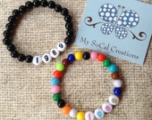 1989-Beaded Stretch Bracelet-Inspired by Taylor Swift-Any Year-Black or Multicolor-Number Beads-Stackable