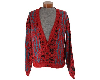 Red 80's Cardigan Sweater Abstract Print Men's Large