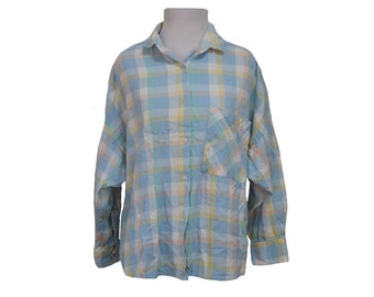 Vintage Pastel Flannel Shirt Size Large
