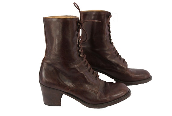 brown vintage high heel boots lace up ankle boots 39 5 or 8 5