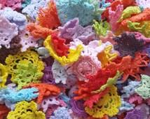 25 Mini Crochet Flower Embellishments, Mini Doilies, Tiny Crocheted Rosette Flowers