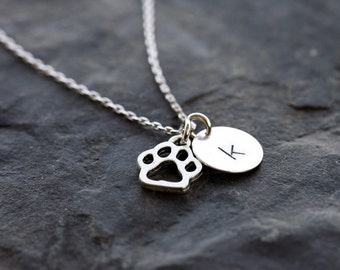 Cat Initial Necklace, Silver Cat Monogram Necklace, Lowercase Monogram Necklace, Cat Paw Necklace, Personalized Cat Necklace,Cat Lover Chain