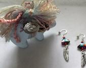 Zuni Bear Earrings with Feather