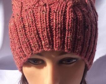 Cat Ear Hat Knit Cat Ear Hat Cable Cat Ear Hat Pink Cat Ear Hat Cabled Cat Ear Hat