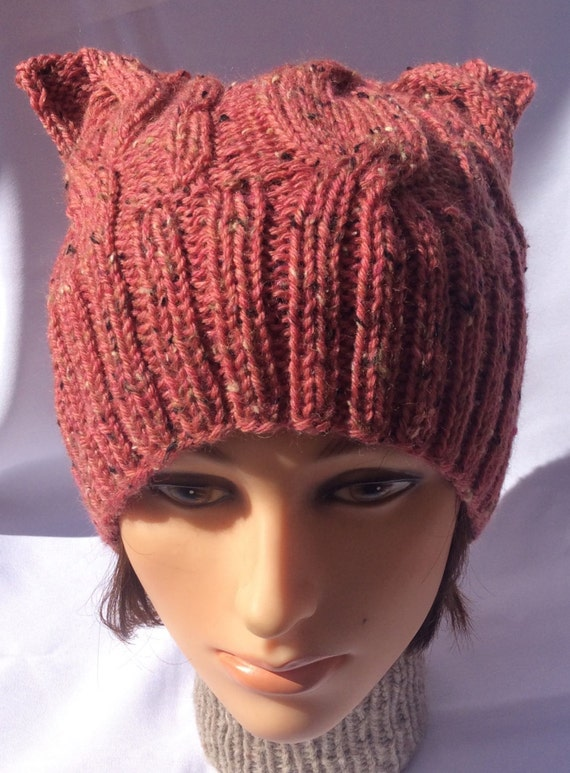 Knit Cat Ear Hat Pattern : Cat Ear Hat Knit Cat Ear Hat Cable Cat Ear Hat Pink Cat Ear