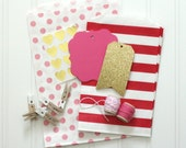 Red, Pink, and Gold Valentine's Day DIY Gift Wrap Kit - Treat Bags, Gift Tags, Stickers, Clothespins, Baker's Twine