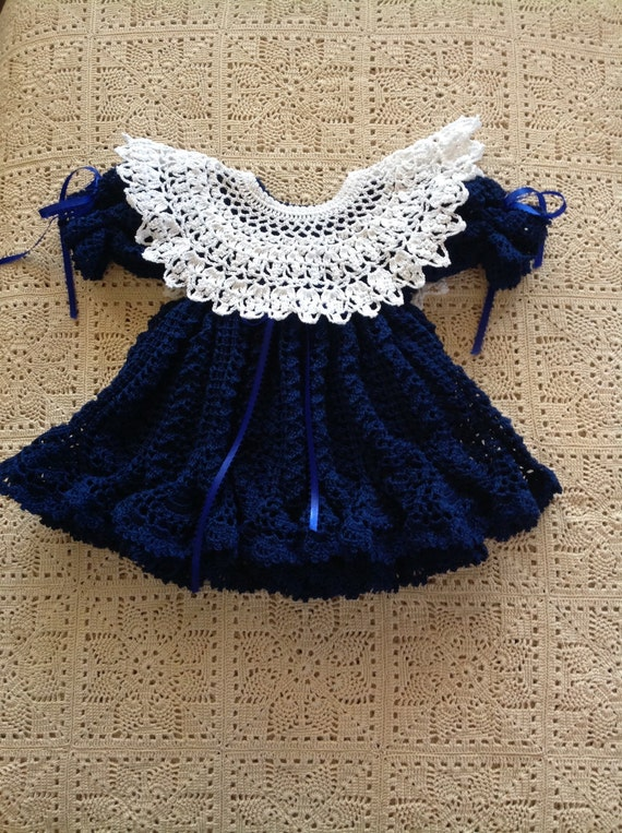 Crocheted Navy Blue Dress with White Collar and Matching Headband - 3-6 Months  READY TO SHIP - G-13131