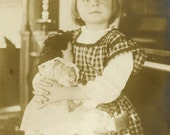"""Vintage Real Photo Postcard """"Most Loved Dolly"""" Girl Toy Baby Doll Old Antique RPPC Photo Black & White Photograph Found Paper Ephemera - 191"""