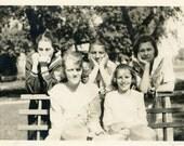 "Vintage Photo ""Boredom Park"" Teen Girl Snapshot Photo Old Antique Photo Black & White Photograph Found Photo Paper Ephemera Vernacular - 191"
