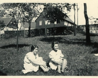 "Vintage Photo ""Sunlight Lawn"" Teen Girl Snapshot Photo Antique Photo Black & White Photograph Found Photo Paper Ephemera Vernacular - 114"