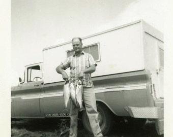 "Vintage Photo ""Camping and Fishing"" Snapshot Photo Old Antique Photo Black & White Photograph Found Photo Ephemera Vernacular - 131"