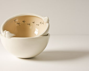 nesting bowls, TWEET BOWLS, fudge, beige, neutral and white pottery bowl. modern, whimsical, quirky ceramic bird bowl, trinket dish