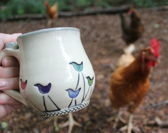 Walking Bird Pottery Mug MADE PER ORDER