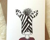 Zebra Stripes on Stripes Blank Greeting Card