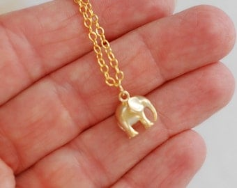 Matte Gold Elephant charm necklace, tiny small animal lucky good luck pendant simple everyday jewelry minimal graduation gift