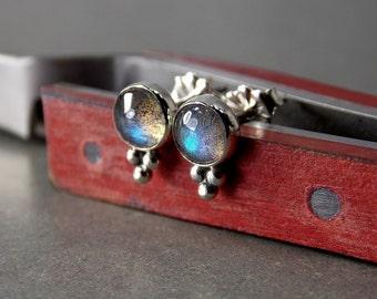 Gemstone Post Earrings, Labradorite Earrings, Recycled Sterling Silver and Labradorite Stud Earrings