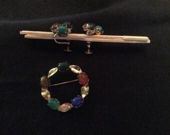 Fifties 50's Circle pin and screw type earrings semi precious stones