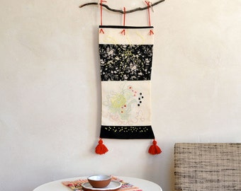 Embroidery Wall Hanging / Abstract Textile Patchwork Fiber Art Black & White