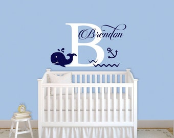 Whale Wall Decal Personalized Name Wall Decal Nautical Decal Custom Decor