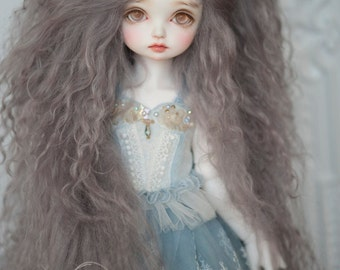 "10in"" Long Smoke Grey Tibetan Mohair Wavy Wig for Volks BJD SD and Pullip Dolls"