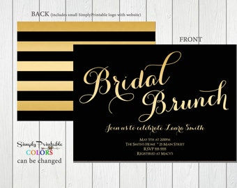 Bridal Shower Invitation Gold and Black, Striped Bridal Shower Invite, Modern Bridal Shower Invitation Wedding Shower Invite