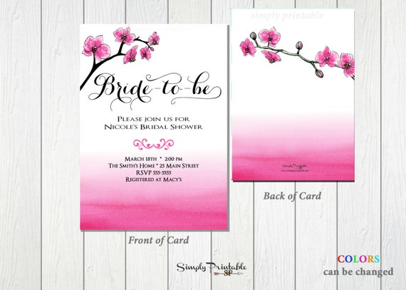 Floral Bridal Shower Invitation, Watercolor Pink Bridal Shower Invite, Modern Bridal Shower Invitation Wedding Shower Invite