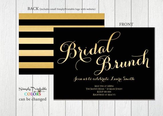 Bridal Shower Invitation Gold and Black, Striped Bridal Shower Invite, Modern Bridal Shower Invitation Wedding Shower Invite