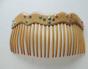 Vintage 1920's celluloid hair comb with crystal ab rhinestones   VJSE