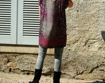 Light weight and feel viscose tunic, purple,grey gradient floral print, straight cut dress