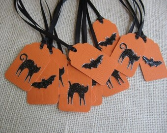 Halloween Gift Tags, Cat & Bat Gift Tags, Glittered Gift Tags, Treat Sack Tags, Halloween Favor Tags, Black Orange Gift Tags SnowNoseCrafts