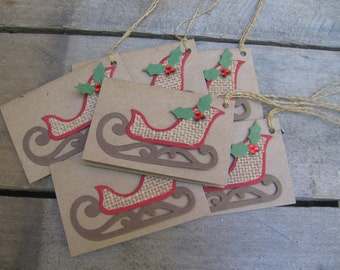 Christmas Sleigh Gift Tags, Set of SIX, Gift Tags, Book Style Holiday Gift Tag, Primitve Gift Tag, Rustic, Christmas, Holiday SnowNoseCrafts