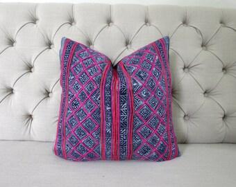 "18""x 18"" Vintage batik Hmong cushion cover, Handwoven Hemp Fabric,Throw Pillow,Decorative Pillows"