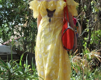 SALE Vintage 60s Dress Pure Sunshine Festival Ethereal Yellow Maxi Dress Long Summer Daisy Flower Child Gown