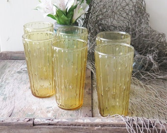 Vintage 6 Bamboo Glasses Anchor Hocking Tahiti Gold Set Excellent Condition