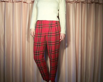 Express High Waisted Red Plaid Stirrup Pants, 80s
