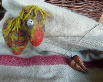 Felted tartan/plaid pony. Wool horse. Boheme home decor. Rustic nursery decor. Waldorf toy. Berta