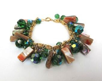 1960s Napier Crystal Shell Dangle Bracelet