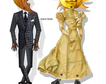 steampunk printable paper dolls Moon and Sun   victorian Articulated puppets DIY craft project