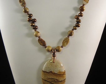 Awesome Landscape Jasper Necklace in Warm Golds and Browns - Accented with Freshwater Pearls, Antiqued Copper, Picture Jasper, OOAK, SRAJD