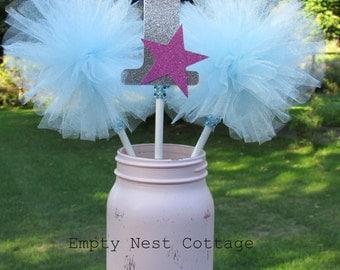 First Birthday Centerpiece, Tulle Pom Pom's,  Tulle Centerpiece, First Birthday Decoration, Fairy Wands, Cake Topper, Princess Party Theme
