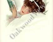 Girl for a Romance Print by Henry Hutt, Beautiful Woman & Book, Love Romantic, Antique 1910 Edwardian Color 9x11 Bookplate Art
