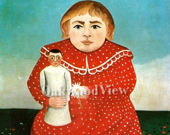 Child with Doll Print by Henri Rousseau, Little Girl & Toy, Vintage 9x12 1975 Bookplate Art, French Post-Impressionism, FREE SHIPPING