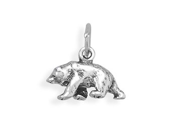 Sterling Silver Bear Charm Pendant 3D Grizzly Animal