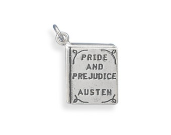 Sterling Silver Pride and Prejudice Book Charm Pendant