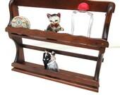 Vintage Spice Rack, Wood Wall Hanging, Counter Top Rack, 2 Tier Wooden Shelf